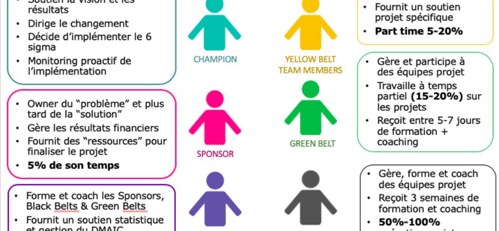 les 7 rôles dans une organisation six sigma